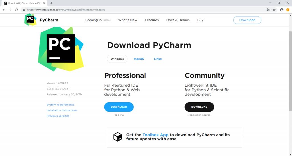 PyCharmのダウンロード