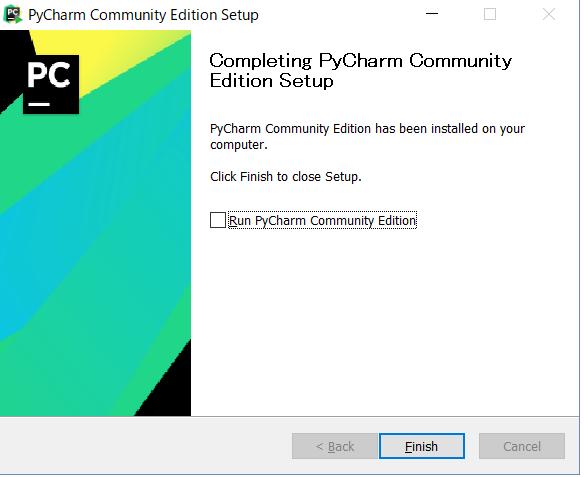 pyCharmのインストールの完了