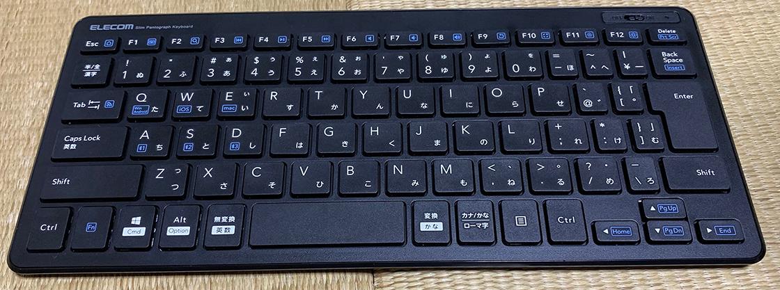 ELECOM Bluetooth薄型ミニキーボードの外観