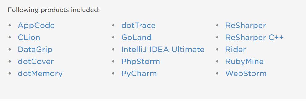 JetBrains製品リスト