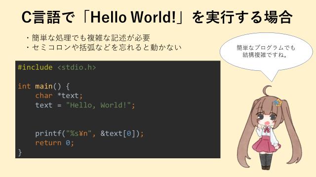 C言語でHello Worldを実行する